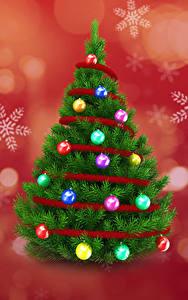 Картинки Рождество Елка Шарики Снежинки