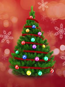 Картинки Рождество Елка Шарики Снежинка