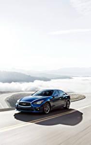 Картинка Инфинити Дороги Синий Движение 2016-17 Q50S 3.0t Автомобили