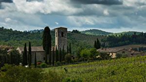 Фотография Италия Тоскана Здания Поля Холмы Chianti