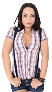 Картинка Белом фоне Позирует Рубашки Вырез на платье Декольте Молодые женщины Девушки