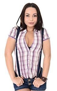 Картинка Белом фоне Позирует Рубашки Вырез на платье Брюнетка Aurelly Rebel молодые женщины