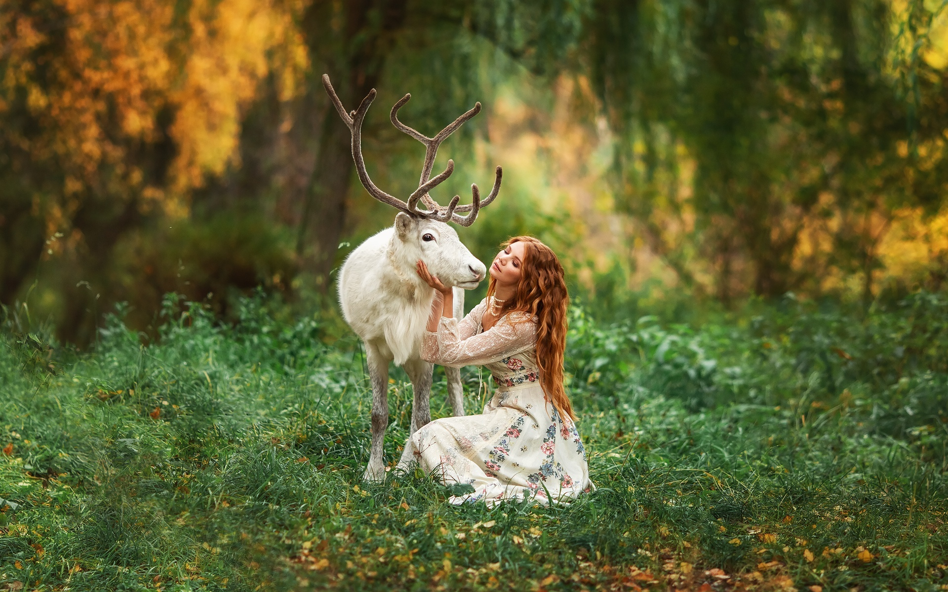Фотографии Олени Рога Размытый фон белая молодая женщина животное 1920x1200 с рогами боке Белый белые белых девушка Девушки молодые женщины Животные
