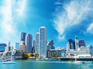 Фотография США Бостон Дома Река Причалы Города