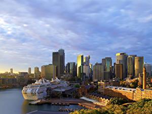 Фотографии Австралия Дома Пирсы Корабль Круизный лайнер Сидней Залива город