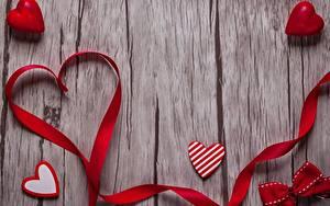 Фотография День святого Валентина Серце Ленточка Доски