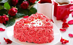 Фотография День святого Валентина Сладости Торты Дизайн Сердце Лепестки