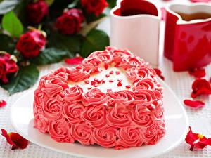 Фотография День святого Валентина Сладости Торты Дизайна Серце Лепестки Пища