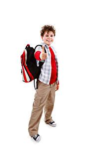 Картинки Школьные Белый фон Мальчик Улыбается Рюкзак ребёнок