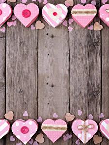 Фотография День святого Валентина Доски Серце Шаблон поздравительной открытки