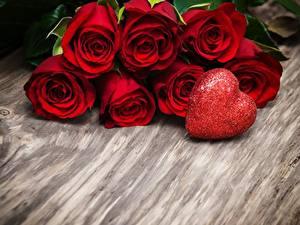 Обои Розы День всех влюблённых Сердечко Красный Цветы