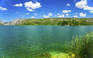 Картинки Хорватия Парки Озеро Небо Облака Krka National Park