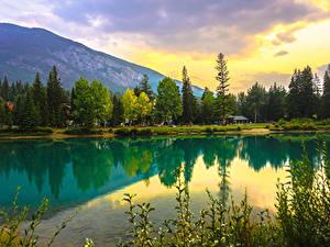 Картинка Канада Парк Озеро Горы Леса Банф Природа