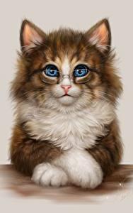 Фото Кошка Рисованные Очках животное