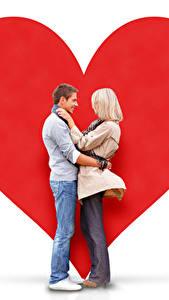 Обои День всех влюблённых Мужчина Любовь Белый фон 2 Блондинок Сердца Девушки