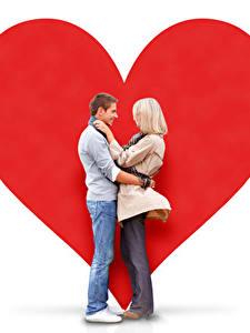 Обои День всех влюблённых Мужчины Любовь Белый фон 2 Блондинка Сердечко Девушки