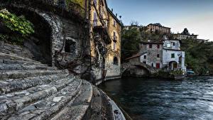 Фотографии Италия Озеро Здания Лестницы Nesso Города