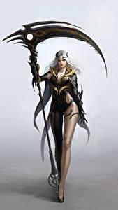 Картинки Воины Коса (оружие) Блондинка Фантастика Девушки