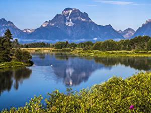 Картинки Штаты Парки Горы Леса Речка Grand Teton NP