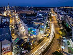 Фотография Здания Вечер Дороги Сербия Улице Novi Sad Juzhna Bachka Города