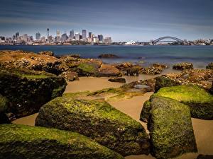 Картинки Побережье Камень Мосты Австралия Залив Сидней город