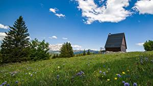 Картинка Горы Лето Франция Луга Альп Vercors Massif