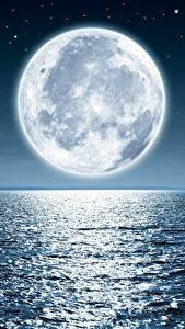 Картинки Море Луна В ночи Горизонт Природа