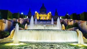 Картинка Испания Фонтаны Барселона Ночные Уличные фонари