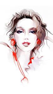 Фотографии Рисованные Взгляд Белом фоне Шатенки девушка