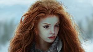Фотография Рисованные Рыжих Волосы Красивый молодая женщина