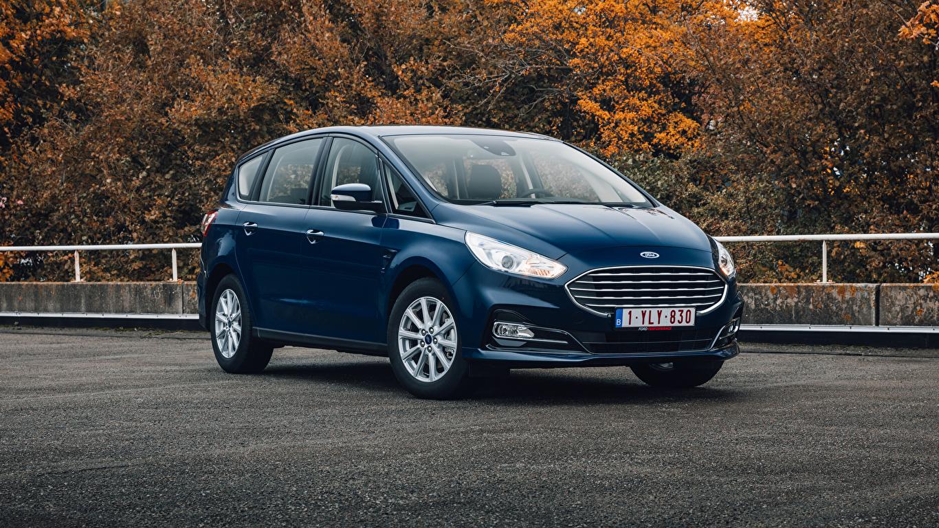 Обои для рабочего стола Ford Универсал S-MAX, 2019-- синие Металлик Автомобили 1366x768 Форд синяя Синий синих авто машины машина автомобиль