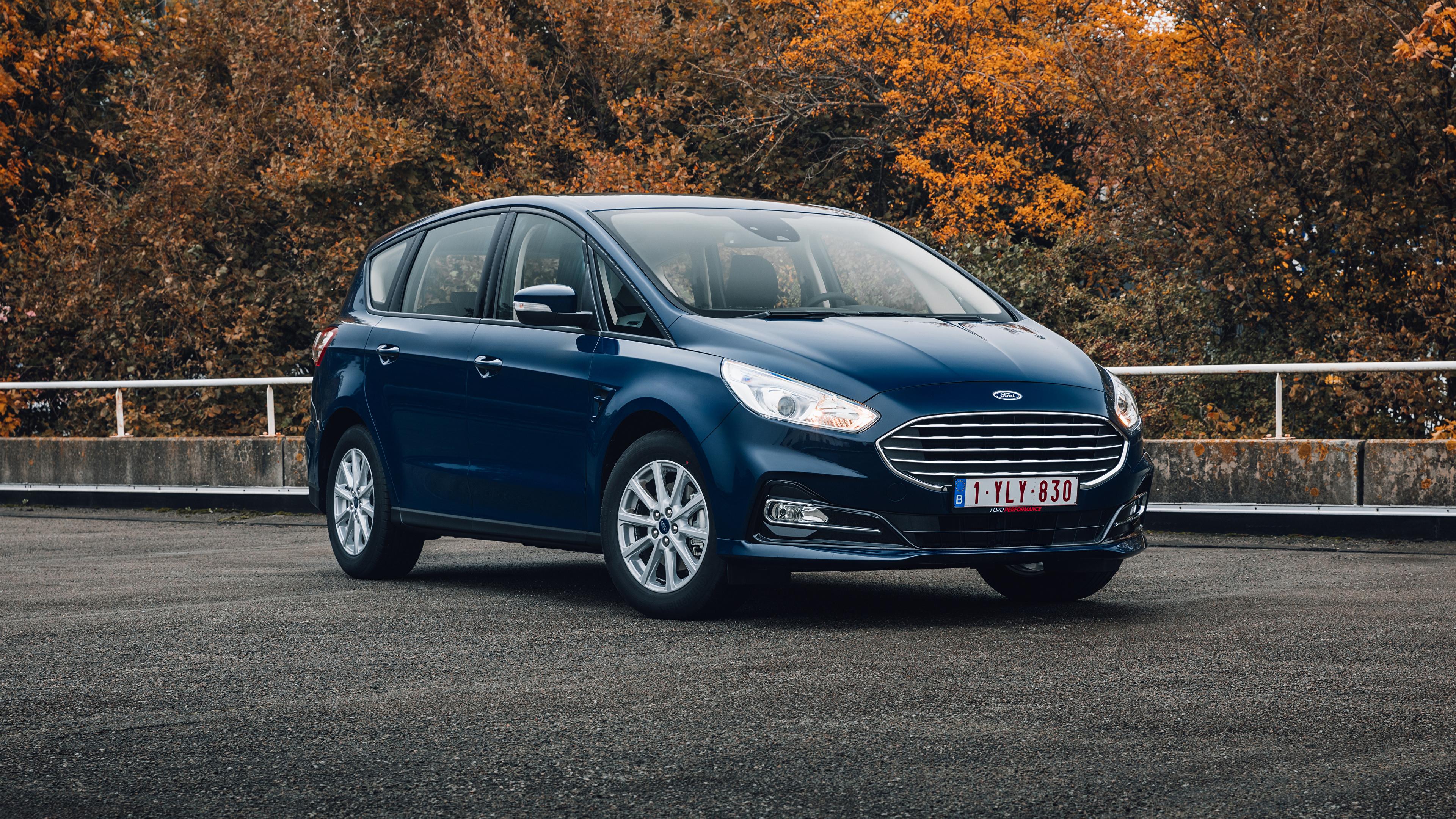 Обои для рабочего стола Ford Универсал S-MAX, 2019-- синие Металлик Автомобили 3840x2160 Форд синяя Синий синих авто машины машина автомобиль