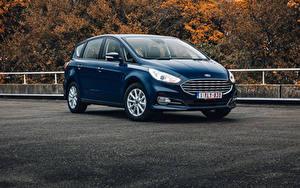 Обои Ford Синие Металлик Универсал S-MAX, 2019-- Автомобили