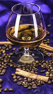 Фотографии Алкогольные напитки Корица Кофе Бокалы Зерно Еда