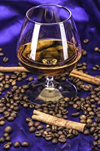 Фотографии Алкогольные напитки Корица Кофе Бокалы Зерно