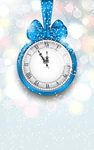 Картинки Новый год Часы Снегу Бантик