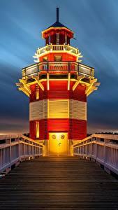 Обои для рабочего стола Маяки Вечер Германия Мосты Ограда Rheinsberg Lighthouse город