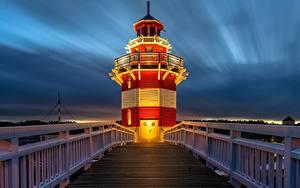 Картинки Маяки Вечер Германия Мосты Ограда Rheinsberg Lighthouse