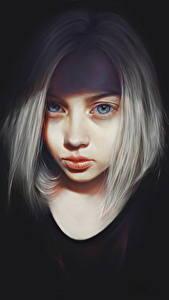 Картинка Рисованные Блондинок Смотрят Черный фон Девушки