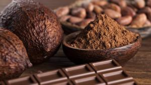 Картинки Шоколад Вблизи Орехи Шоколадка Какао порошок