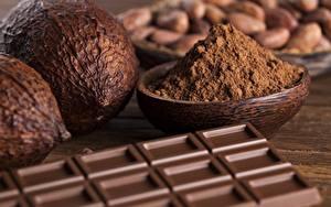 Картинки Шоколад Вблизи Орехи Какао порошок Пища