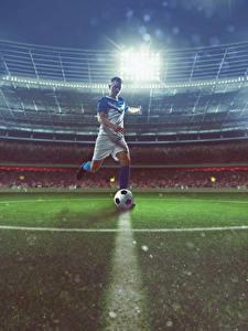 Картинка Футбол Мужчины Стадион Мяч Униформа Спорт