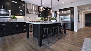 Обои Интерьер Дизайна Кухня Стола Стул Лампы