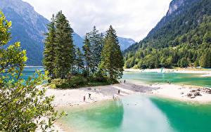 Обои Италия Гора Лес Озеро Побережье Ели Predil Lake Природа