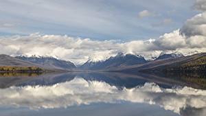 Фотография Озеро Горы Штаты Пейзаж Облака McDonald Lake, Glacier National Park, Montana state Природа