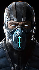 Картинка Mortal Kombat Воины Маски Черный фон Sub-zero Игры Фэнтези