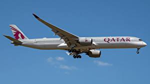 Фотографии Airbus Самолеты Пассажирские Самолеты Сбоку A350-1000, Qatar Airways Авиация