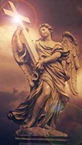 Фотография Ангелы Скульптуры Крестов Красивый Фантастика