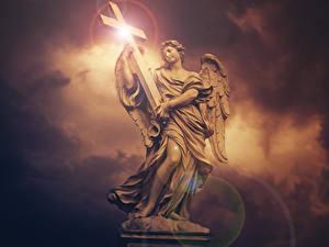 Фотография Ангелы Скульптура Крестов Красивый Фантастика