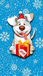Фото Собаки Новый год Снежинки Подарки 2018